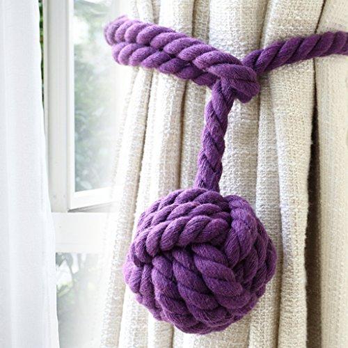 BTSKY 2 Pieces Curtain Rope Holdbacks- Decorative Hand-Knitted Cotton Tiebacks (Purple)