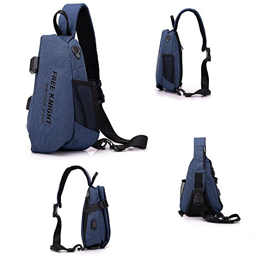 TechCode Sling Chest Bag, Waterproof Outdoor Sling Shoulder Backpacks Triangle Rucksack Multipurpose Daypacks Sports Chest Bag with Headphone Hole for Outdoor Biking Camping Hiking Travel (Blue) by TechCode