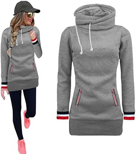 Kintaz Women's High Neck Collar Fleece Pullover Long Loose Fit Tunic Hoodies Sweatshirts Dress Sweater Coat with Pockets (4 Colors, Plus Size Available) (Gray, M(US Women Size))
