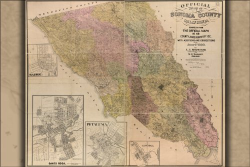 24x36 Poster; Official Map Of Sonoma County, California 1900; Antique Reprint
