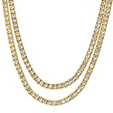 METALTREE98 Men's Fashion Hip Hop Iced Out 4 mm CZ 16''/20'' Short Double Set Gold Plated Tennis Chain Necklace