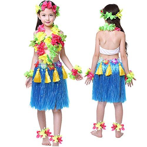 Kids Hawaiian Hula Dance Costume Ballet Performance Cosplay Dress Skirt Garland For Girl Child 40CM Full (Hawaiian Hula Outfits)