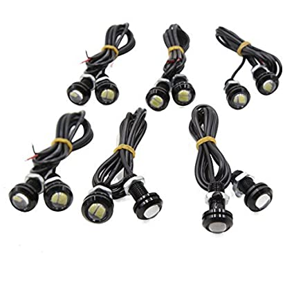 eDealMax 12pcs Blanco 5630 SMD 2 LED DE 18 mm de Eagle Eye coche parachoques DRL