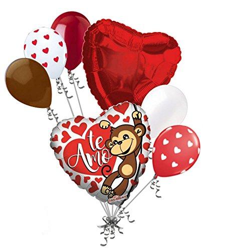Love Mine Monkey (7 pc Te Amo Monkey Love Heart Happy Valentines Day Balloon Bouquet Mine Hugs)