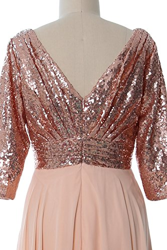 MACloth Women 3/4 Sleeve V Neck Mother Dress Sequin Chiffon Wedding Formal Gown Light Gold-Gold