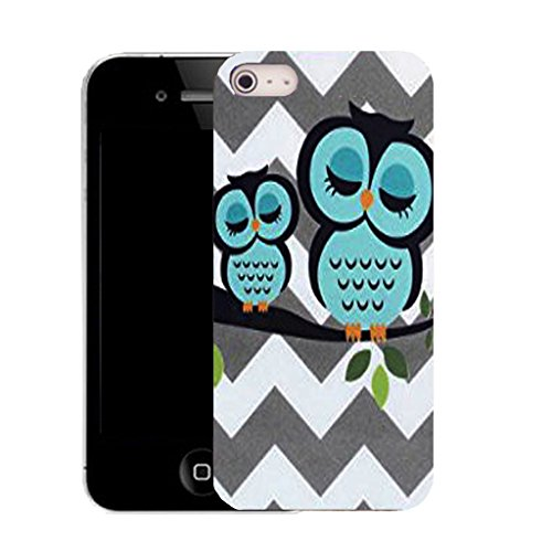 Mobile Case Mate IPhone 4 clip on Silicone Coque couverture case cover Pare-chocs + STYLET - blue branch owl pattern (SILICON)