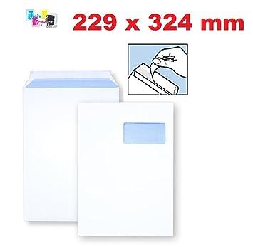 9210902a5d 10 Stück EX Große Umschlag mit Sichtfenster Tasche Post A4 – C4 Kraftpapier  Weiß 90 g Format ...