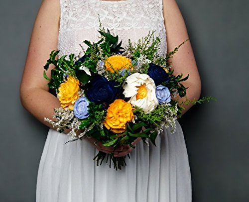 Sunny Yellow Navy Green Natural Wedding Bouquet Bouquet 19 Stems