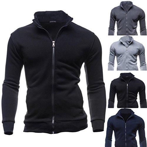Sport Uomo Nero Sweatshirts Autunno Felpe Top Cerniera Cardigan Giacca Cappotto Svago Di Byste wSAqCx