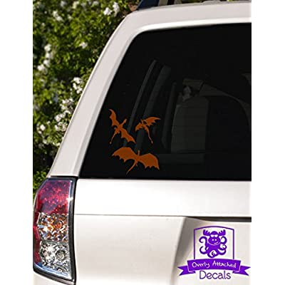 "Overly Attached Decals 3 Dragons Flying Vinyl Car Decal - 4"" Brown: Automotive"