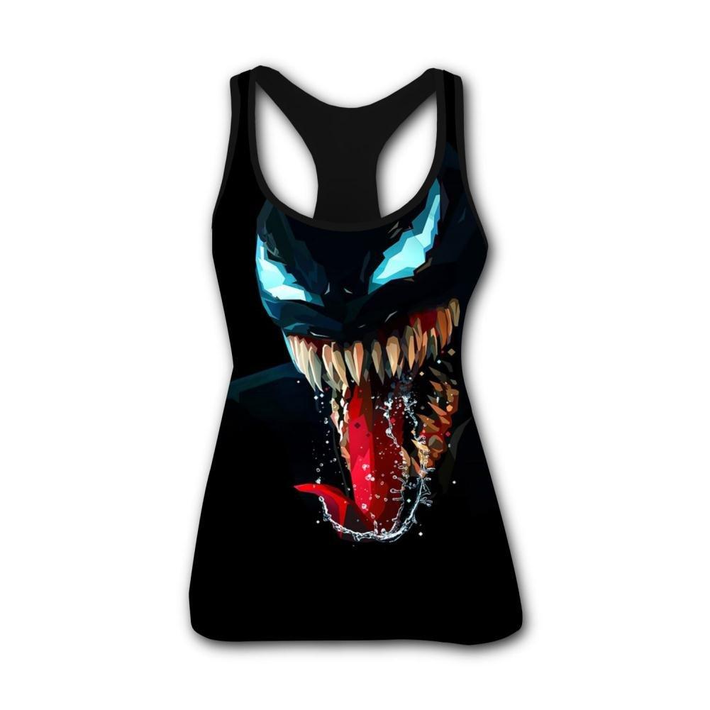 Venom Artwork Minimal Dark Background 3D Print Summer Fashion Sleeveless Tanks Vest T-Shirt Women Girl XL