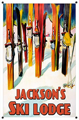 Intermediate Downhill Skis - Personalized Ski Lodge Metal Sign Rustic Antique Steel Custom Name Text Ski Resort Aspen Mammoth Tahoe Swedish Alps Snow Skiing (125-08120)