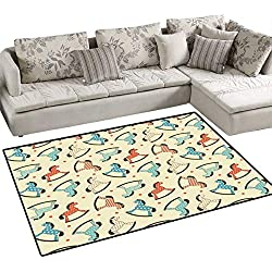 "Toy Horse Anti-Static Area Rugs Dotted Background Pattern with Toy Rocking Horses Children Playthings Colorful Children Kids Nursery Rugs Floor Carpet 40""x55"" Multicolor"