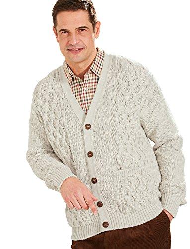 Hommes Aran Style Knitwear Cardigan Beige Small