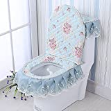 Toilet cushion,Luxury toilet seat cover 3 Pack set (Lid cover & Tank cover) Bathroom zipper super warm soft comfy -A