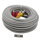 AimHD 100 Feet BNC Cable CCTV Security Camera Upgraded 24AWG Video Power Extension Siamese In-wall Cords Pre-made BNC DC Connectors for 720p 1080p DVR Surveillance System-Grey