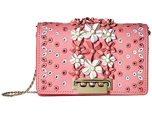 (ZAC Zac Posen Women's Earthette Floral Applique Accordion Mini Crossbody, Bubble Gum, One Size)