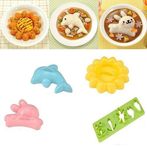 ORYOUGO 4 pcs/set Cute Cartoon DIY Rabbit Dolphin Sushi Maker Rice - Dolphin Plastic Mold