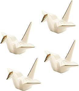 Cinf Japanese Cranes Ceramics Chopstick Rest Spoon Fork Knife Holder with Gold Edge Set of 4(White),Decorative Porcelain Crane Rest for Kitchen Dinner Housewarming Gift …