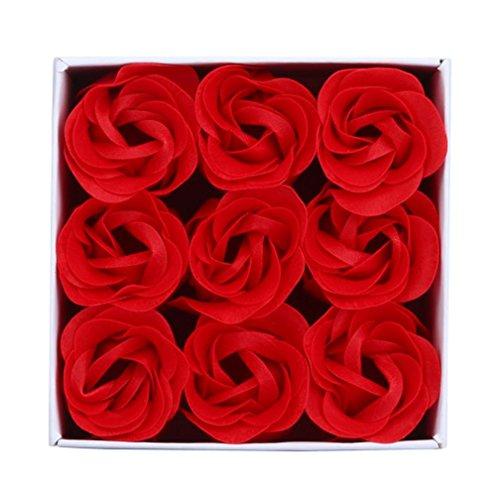 Chartsea Random Heart Scented Bath Body Petal Rose Flower Soap Wedding Decoration - Bar Rose Red