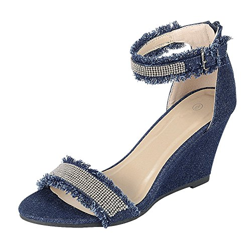 Cambridge Select Women's Open Toe Frayed Beaded Ankle Strappy Wedge Sandal (7 B(M) US, Denim)