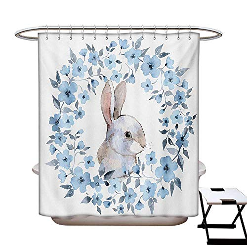 (Watercolor Flower Shower Curtain Customized Bunny Rabbit Portrait in Floral Wreath Illustration Country Style Bathroom Accessories W72 x L84 Blue Grey White)