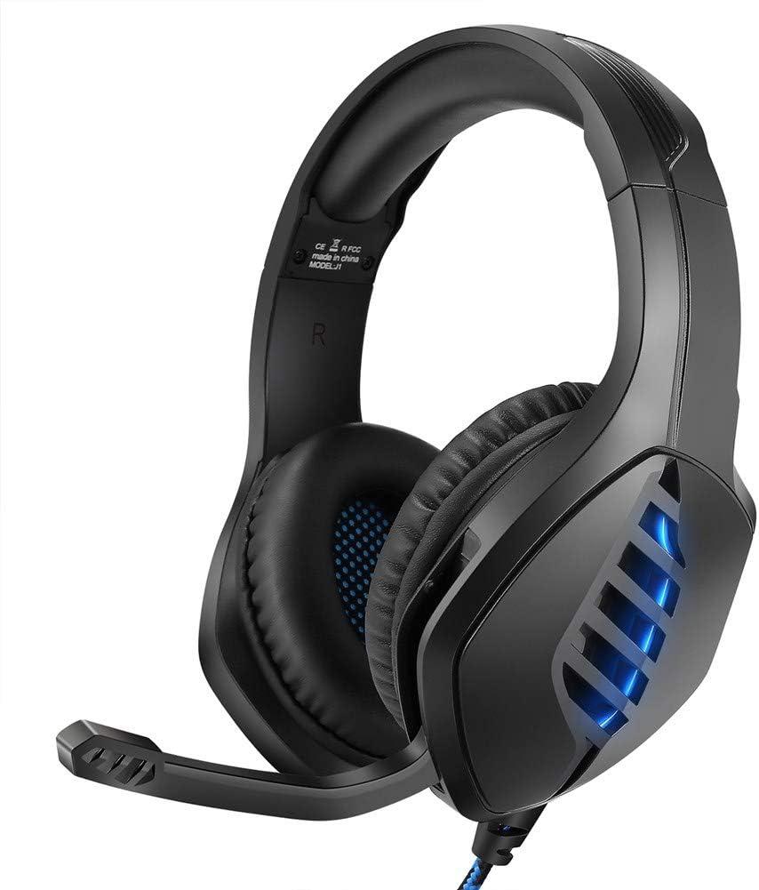 YJY J1 - Auriculares estéreo para juegos PS4, PC, Xbox One, con cancelación de ruido, con micrófono, luz LED, envolvente de graves y suaves orejeras de memoria para portátiles Mac Nintendo S, azul