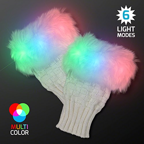 Light Up Fuzzy Fingerless LED Glow Gloves