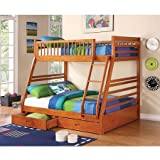 Coaster Ogletown Twin-Over-Full Bunk Bed with Storage, Honey Oak