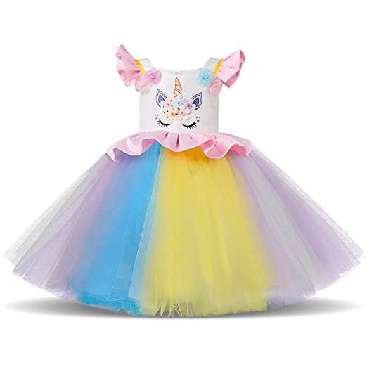 2b045c60d4 Amazon.com: Girls Unicorn Dress up Costume Flutter Sleeve Dress Rainbow  Tulle Skirt+Headband Kids Birthday Outfit Set for Cosplay: Clothing