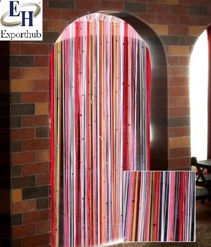 Exporthub Beautiful Pink & Multi Color Door String Curtain With Multi Beats- 4×7 Feet