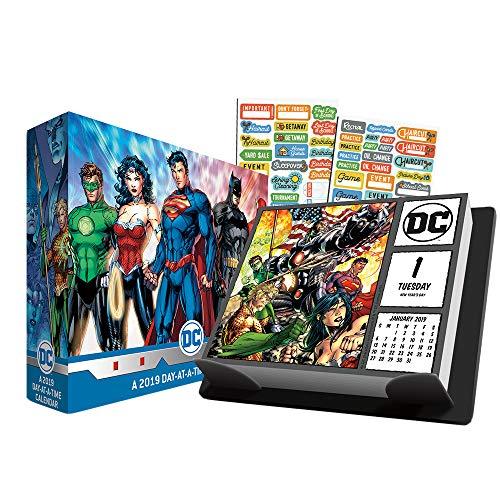 (DC Comics 2019 Calendar, Box Edition Set - Deluxe 2019 DC Comics Day-at-a-Time Calendar with Over 100 Calendar Stickers (DC Comics Gifts, Office Supplies))