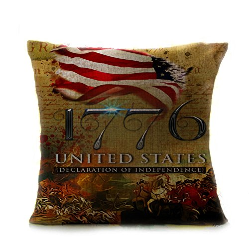 American Flag Print Pillow Covers, Independence Day American Flag 100% Cotton Pillow Case, Happy 4th of JULY, 18x18 Inch ()