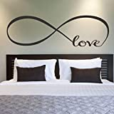 Ussore Wall Sticker 44*120CM Infinity Symbol Word Love Vinyl Art Wall Stickers Home Decor Wall Art For Kids Home Living Room House Bedroom Bathroom Kitchen Office Home Decoration Picture
