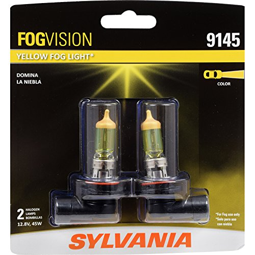SYLVANIA - 9145 Fog Vision - High Performance Yellow Halogen Fog Lights, Sleek Style & Improved Safety, Street Legal, For Fog Use Only (Contains 2 -