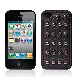 HELPYOU iphone 4/4S Cool Punk Unique Hand Made Hard Case / PU Leather Skull Cone Spike Rivet Back Protective Cover for Apple iPhone 4 4G 4S (Style C)