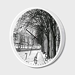 Non Ticking Wall Clock Silent with Metal Frame HD Glass Cover,Black and White Decorations,Seine River Paris France Snowy Winter in Urban City Trees,for Office,Bedroom,10inch