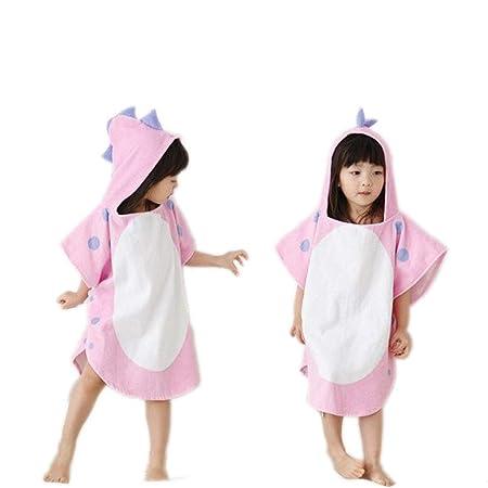 9b81907238f63 Zinsale Kids Dinosaur Hooded Beach Bath Towel Soft Cotton Poncho Children  Bathrobe Blanket (Pink, 70x140cm)
