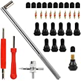 Tyre Valve Stem Puller Tools Set with 10 TR412 Short Rubber Valve Nozzle Core and Pure Copper Valve Nozzle Core, 1Pcs Dual &1Pcs Single Head Valve Core Remover, 4 Way Valve Core Remover Installer Tool