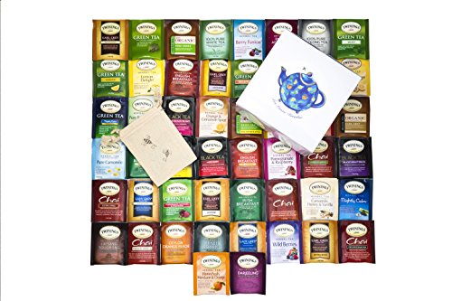 Twinings Tea Bags Sampler Assortment Variety Pack - 50 Count with Gift Box and Travel Pouch - Tea Lover's (Twinings Tea Boxes)