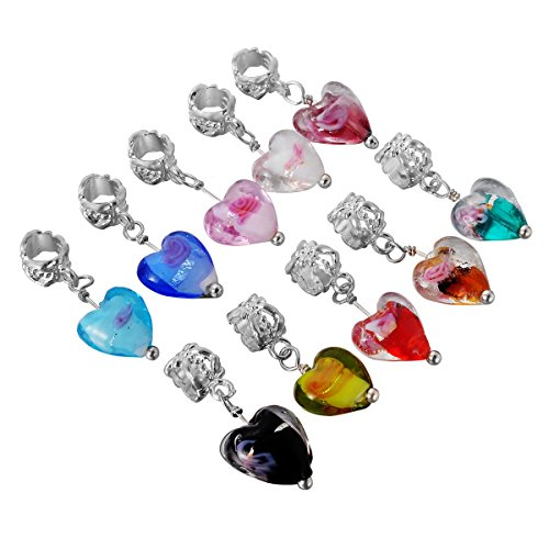 HooAMI 20pcs Mixed Glass Flower Heart Dangle Beads Fit Charm Bracelet (Large Flower Spacer)