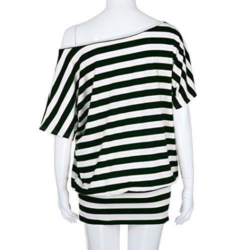 Maglietta Estate Shirt A Strisce Casuale Slash Magliette Maniche Verde Italily Manica Divertenti Superiore Camicetta Collo Top Sciolto Donna Corta Tumblr Vintage Corte xg6zBq8