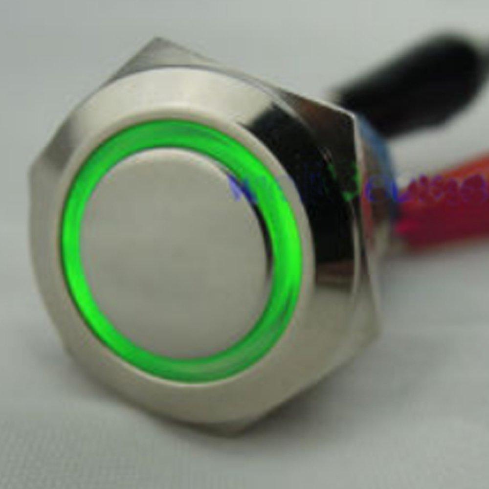 Etopars/™ 19mm 12V 5A Car Vehicle Red LED Light Angel Eye Metal Push Button Switch Socket Plug