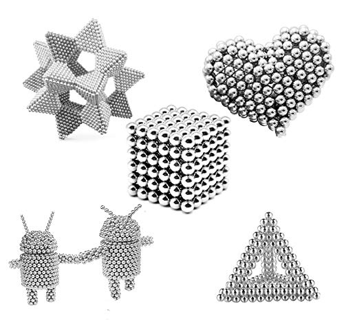 aBrilliantLife 5MM 1000 Pieces Magnetic Balls Toys Sculpture Building Magnetic Blocks Magnets Cube Gift for Intellectual Development -Office Toy Stress Relief Gifts for Teens and Adult-Sliver by aBrilliantLife (Image #3)