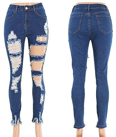Amazon.com: Gemijack Pantalones de mezclilla adelgazantes ...