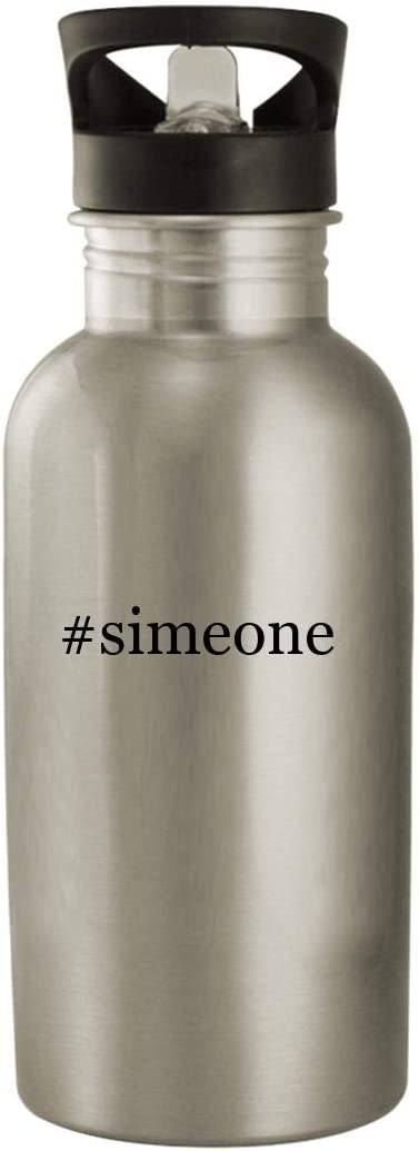 #Simeone - Stainless Steel Hashtag 20Oz Water Bottle, Silver