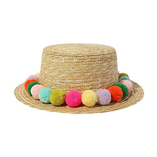 ACVIP Women's Straw Fluffy Pom poms Decorated Porkpie Sun Hat