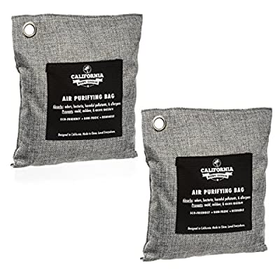 2 Pack Charcoal Deodorizer Car Freshener Bags - 200 Gram - Odor Neutralizer, 100 Percent Natural Chemical-Free, Naturally Activated Bamboo Air Purifying Bag, Unscented by California Home Goods