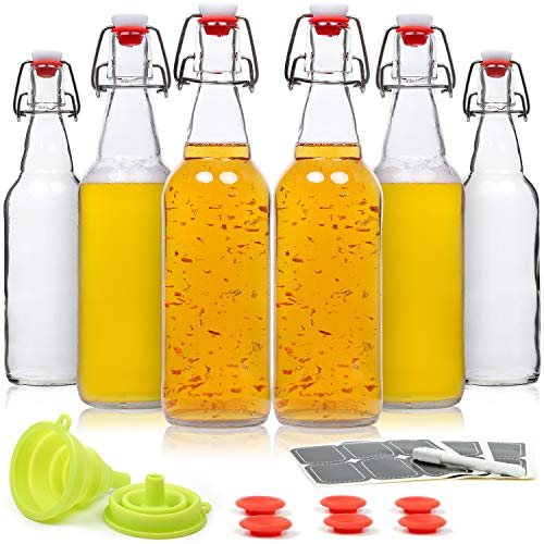 WILLDAN Set of 6-16oz Swing Top Glass Bottles - Flip Top Brewing Bottles For Kombucha, Kefir, Beer - Airtight Caps and Leak Proof Lids, Bonus Gaskets and Funnel