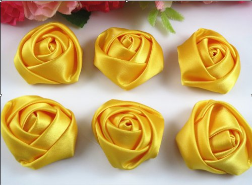18 Pcs Big Satin Ribbon Rose Flower DIY Craft Appliques Yellow